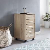 WOHNLING Rollcontainer LISA Sonoma 33 x 63 x 38 cm Holz Schubladenschrank Schreibtisch