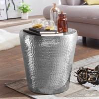 WOHNLING Beistelltisch VIKRAM 41x41x41cm Aluminium Silber Dekotisch orientalisch rund