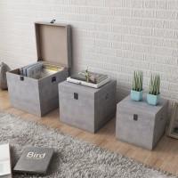 Aufbewahrungsbox Beton 3 Stk. Quadratisch Grau MDF