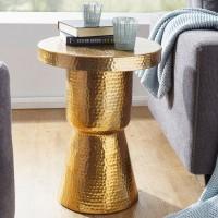 WOHNLING Design Beistelltisch DELYLA 43x59x43 cm Aluminium Gold