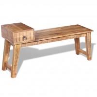 Sitzbank mit Schublade Massivholz Mango 120x36x60 cm