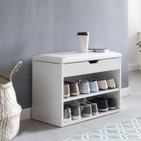 WOHNLING Schuhbank SOFIA mit Sitzfläche Weiß Garderoben-Bank Holz 60 x 40 x 30 cm