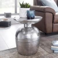 WOHNLING Beistelltisch DELYLA Aluminium 36,5x46x36,5 cm Dekotisch Silber orientalisch rund