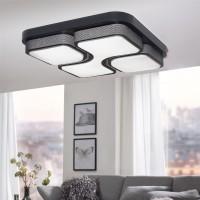 WOHNLING Design LED-Deckenleuchte GEOMETRIC Deckenlampe schwarz 32W A+ 53x9x53 cm
