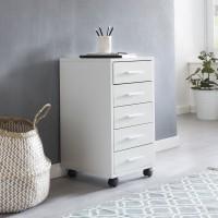 WOHNLING Rollcontainer LISA Weiß 33 x 63 x 38 cm Holz Schubladenschrank Schreibtisch