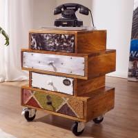 WOHNLING Sideboard NEPAL 50x35x60 cm Anrichte mit 4 Schubladen Massivholz