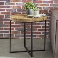 WOHNLING Design Beistelltisch BELLARY Oval 60x61x53 cm Massivholz Tisch mit Metallgestell