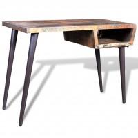 Schreibtisch Massivholz Teak Antik mit Eisenfüßen