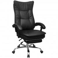 Relaxsessel Bürostuhl Chefsessel mit Fußstütze Schwarz