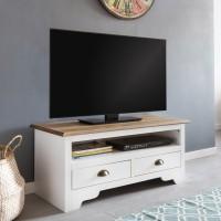 WOHNLING Design HiFi Lowboard MAYLA Kiefer Massivholz Kommode 100 x 45 x 45 cm Weiß